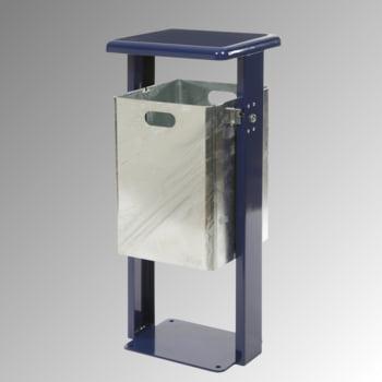 Stand-Abfallbehälter rechteckig - Vol. 40 l - mit Bodenplatte - kobaltblau/verzinkt
