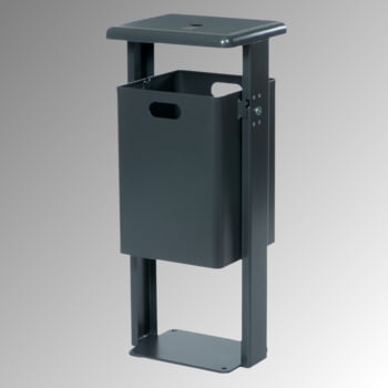 Stand-Abfallbehälter rechteckig - Vol. 40 l - mit Ascher - mit Bodenplatte - Eisenglimmer/Eisenglimmer
