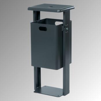 Stand-Abfallbehälter rechteckig - Vol. 40 l - mit Ascher - mit Bodenplatte - kobaltblau/kobaltblau