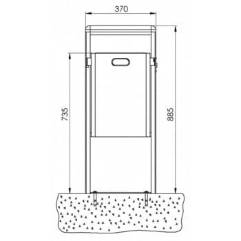 Stand-Abfallbehälter rechteckig - Vol. 40 l - mit Ascher - mit Bodenplatte - anthrazitgrau online kaufen - Verwendung 3