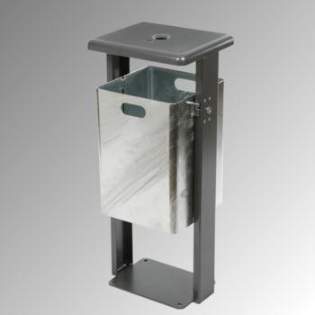 Stand-Abfallbehälter rechteckig - Vol. 40 l - mit Ascher - mit Bodenplatte - Eisenglimmer/verzinkt