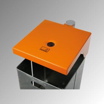 Abfallbehälter rechteckig, mit Haube - Wand- oder Pfostenbefestigung - mit Ascher - 40 l - gelborange/verzinkt online kaufen - Verwendung 2