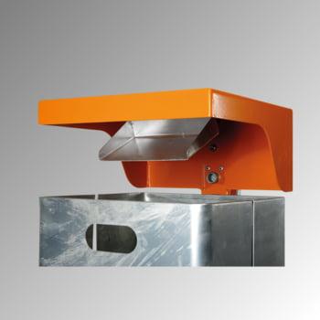Abfallbehälter rechteckig, mit Haube - Wand- oder Pfostenbefestigung - mit Ascher - 40 l - gelborange/verzinkt online kaufen - Verwendung 3