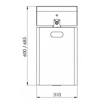 Abfallbehälter rechteckig, mit Haube - Wand- oder Pfostenbefestigung - mit Ascher - 40 l - gelborange/verzinkt online kaufen - Verwendung 4