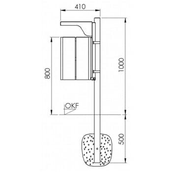 Abfallbehälter rechteckig, mit Haube - Wand- oder Pfostenbefestigung - mit Ascher - 40 l - gelborange/verzinkt online kaufen - Verwendung 6