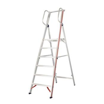 Plattformleiter mit Handlauf - Leiterlänge 3.950 mm - mit Einhängehaken und Ablageschale - Aluleiter - Hymer