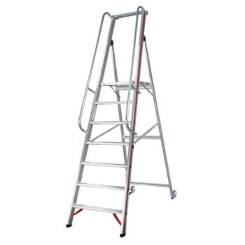 Plattformleiter mit langem Handlauf - Kipprollen - Leiterlänge 3.950 mm - mit Einhängehaken und Ablageschale - Aluleiter - Hymer
