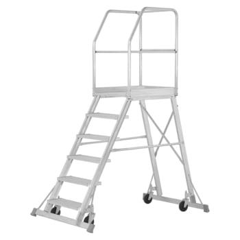 Fahrbare Podesttreppe - einseitig begehbar - 4 Stufen - Höhe 1.950 mm - Hymer