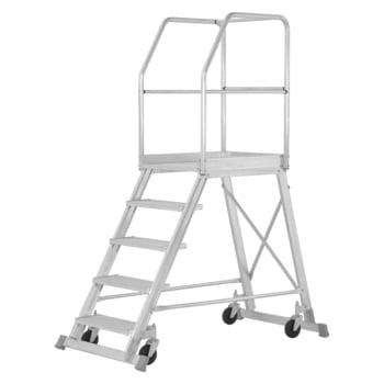 Fahrbare Podesttreppe - einseitig begehbar - 5 Stufen - Höhe 2.200 mm - Hymer