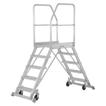 Fahrbare Podesttreppe - beidseitig begehbar - Stufenzahl 2x5 - Höhe 2.200 mm - Hymer
