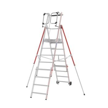 Plattformleiter - Leiterlänge 2.610 mm - höhenverstellbar - Plattform mit Geländer - mit Ablageschale - Aluleiter