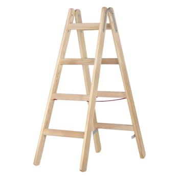 Holz-Sprossenstehleiter - beidseitig begehbar - 2x6 Sprossen - Länge 1.800 mm - Holzleiter - Hymer