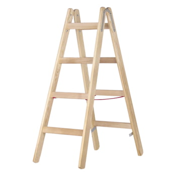 Holz-Sprossenstehleiter - beidseitig begehbar - 2x8 Sprossen - Länge 2.360 mm - Holzleiter - Hymer