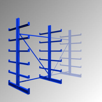 Kragarmregal - 200 kg - 2.000 x 1.250 x 1.100 mm - doppelseitig - Grundregal