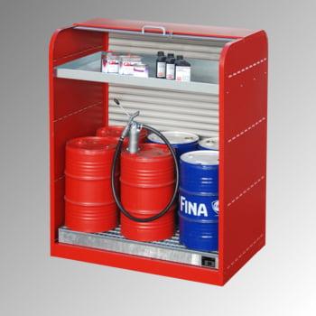 Gefahrstoffschrank mit Rollladen - für 6 x 60-l-Fass - 1 Kleingebindewanne - feuerrot