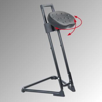 Ergonomische Stehhilfe - höhenverstellbar 60 bis 85 cm - Sitz PU, schwarz - Gestell schwarz