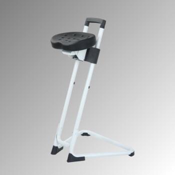 Ergonomische Stehhilfe - höhenverstellbar 60 bis 85 cm - Sitz PU, schwarz - Gestell lichtgrau