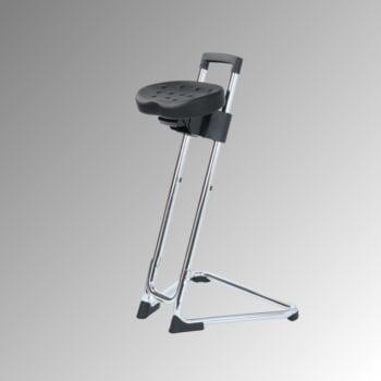 Ergonomische Stehhilfe - höhenverstellbar 60 bis 85 cm - Sitz PU, schwarz - Gestell Chrom