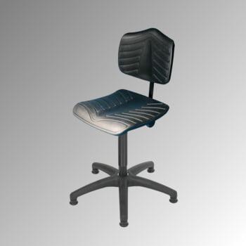 Arbeitsstuhl - ergonomische Polster - Sitzhöhe 440-630 mm - PU supersoft, schwarz - Kunststoff Fußkreuz - Gleiter