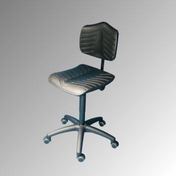 Arbeitsstuhl - ergonomische Polster - Sitzhöhe 460-650 mm - PU supersoft, schwarz - Kunststoff Fußkreuz - Rollen