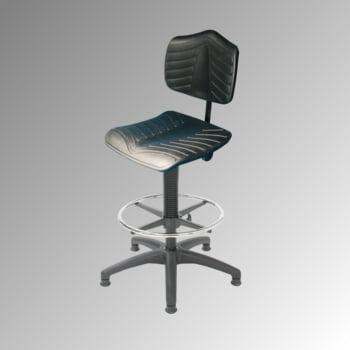 Arbeitsstuhl - ergonomische Polster - Fußring - Sitzhöhe 530-790 mm - PU supersoft, schwarz - Kunststoff Fußkreuz - Gleiter