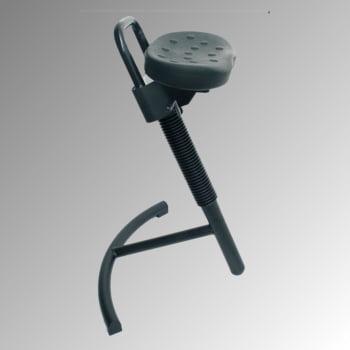 Stehhilfe mit Gasdruckfeder - höhenverstellbar 645 bis 825 mm - Sitz PU, schwarz - Gestell schwarz