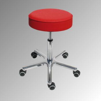 Drehhocker - Sitzhöhe 540-720 mm - Kunstleder feuerrot - Aluminium Fußkreuz mit Rollen