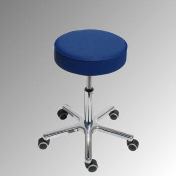 Drehhocker - Sitzhöhe 540-720 mm - Kunstleder atollblau - Aluminium Fußkreuz mit Rollen