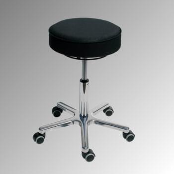 Drehhocker - Sitzhöhe 540-720 mm - Kunstleder schwarz - Aluminium Fußkreuz mit Rollen