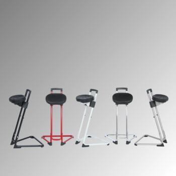 ESD Stehhilfe - antistatisch - Sitzhöhe 600 bis 850 mm - Sitz PU schwarz - Gestell rot