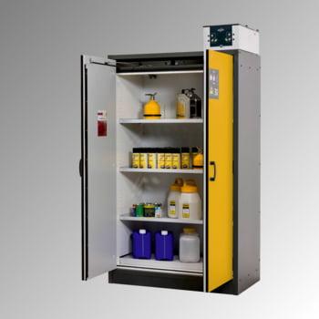 Transportabler Sicherheitsschrank Typ 30 - ca. 2 x 1,2 x 0,6 m - 3 Fachböden - 1 Bodenauffangwanne - mit Lochblech - lichtgrau - Stahl online kaufen - Verwendung 2
