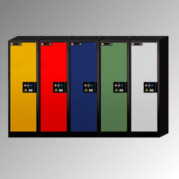 Gefahrstoffschrank - 1.953x599x615 mm - 3 Fachböden - Stahl-Einrichtung - Türanschlag Links - Lochblechboden - Front verkehrsrot online kaufen - Verwendung 2
