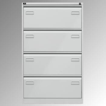 Bisley Light Hängeregistraturschrank - 4 Schubladen - doppelbahnig - Farbe lichtgrau
