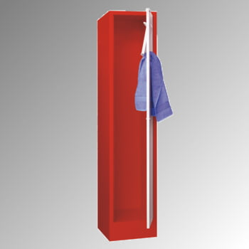 Wäschesammelschrank - 1.850 x 400 x 500 mm (HxBxT) - Sockel - Zylinderschloss - lichtgrau/feuerrot