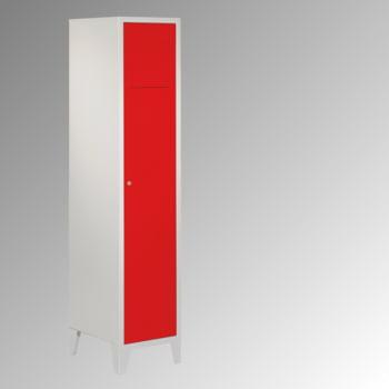 Wäschesammelschrank - 1.850 x 400 x 500 mm (HxBxT) - Füße - Zylinderschloss - lichtgrau/enzianblau