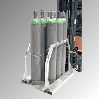 Gasflaschen-Palette - für 8 250-mm-Stahlflaschen - Traglast 700 kg - verzinkt