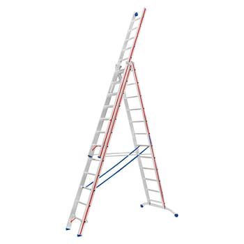 Aluminium-Allzweckleiter - dreiteilig - max. Länge 4.950 mm - gebogene Traverse - Aluleiter - Hymer