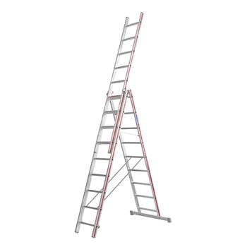 Aluminium-Allzweckleiter - dreiteilig - Breite 355/1.200 mm - max. Länge 7.670 mm - Aluleiter - Hymer