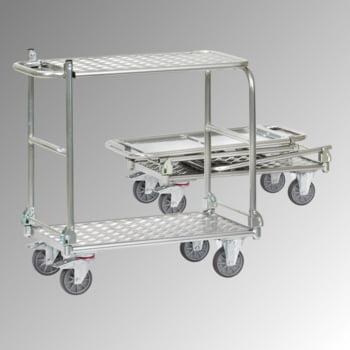 Fetra - Klappwagen - Tragkraft 200 kg - Ladefläche 600 x 900 mm (BxT) - Tischplatte - Aluminium