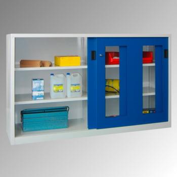 Schiebetürenschrank - Sichtfenstertüren - 1.200x2.000x400 mm (HxBxT) - 4 Böden, verzinkt - Zylinderschloss - lichtgrau/feuerrot online kaufen - Verwendung 2