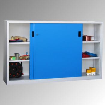 Schiebetürenschrank - Sichtfenstertüren - 1.200x2.000x400 mm (HxBxT) - 4 Böden, verzinkt - Zylinderschloss - lichtgrau/feuerrot online kaufen - Verwendung 4