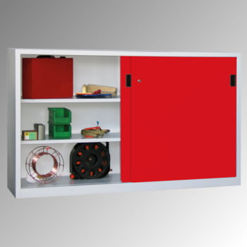 Schiebetürenschrank - Sichtfenstertüren - 1.200x2.000x400 mm (HxBxT) - 4 Böden, verzinkt - Zylinderschloss - lichtgrau/feuerrot online kaufen - Verwendung 5