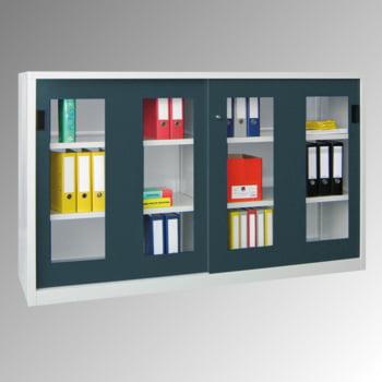 Schiebetürenschrank - Sichtfenstertüren - 1.200x2.000x400 mm (HxBxT) - 4 Böden, verzinkt - Zylinderschloss - lichtgrau/feuerrot online kaufen - Verwendung 0
