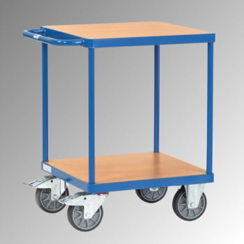 FETRA Tischwagen mit Holz Böden - Tragkraft 500 kg - Ladefläche 600 x 600 mm - waagerechter Griff