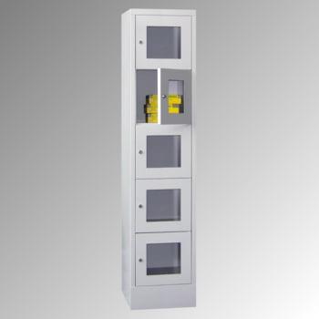 Schließfachschrank - Sichtfenstertüren - 15 Fächer a 400 mm - 1.850x1.230x500 mm (HxBxT) - Sockel - Zylinderschloss - enzianblau online kaufen - Verwendung 3