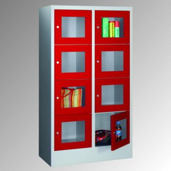Schließfachschrank - Sichtfenstertüren - 15 Fächer a 400 mm - 1.850x1.230x500 mm (HxBxT) - Sockel - Zylinderschloss - enzianblau online kaufen - Verwendung 4