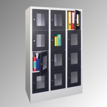 Schließfachschrank - Sichtfenstertüren - 15 Fächer a 400 mm - 1.850x1.230x500 mm (HxBxT) - Sockel - Zylinderschloss - enzianblau online kaufen - Verwendung 5