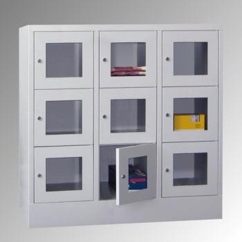 Schließfachschrank - Sichtfenstertüren - 15 Fächer a 400 mm - 1.850x1.230x500 mm (HxBxT) - Sockel - Zylinderschloss - enzianblau online kaufen - Verwendung 6