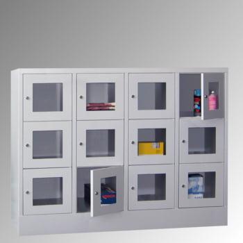 Schließfachschrank - Sichtfenstertüren - 15 Fächer a 400 mm - 1.850x1.230x500 mm (HxBxT) - Sockel - Zylinderschloss - enzianblau online kaufen - Verwendung 7