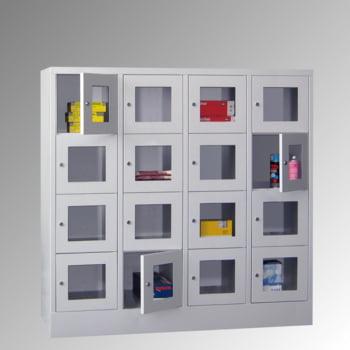 Schließfachschrank - Sichtfenstertüren - 15 Fächer a 400 mm - 1.850x1.230x500 mm (HxBxT) - Sockel - Zylinderschloss - enzianblau online kaufen - Verwendung 8